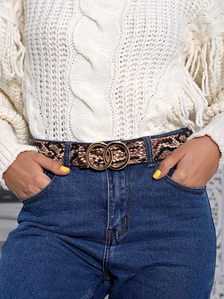 Midnight Charm Snake Beige Belt