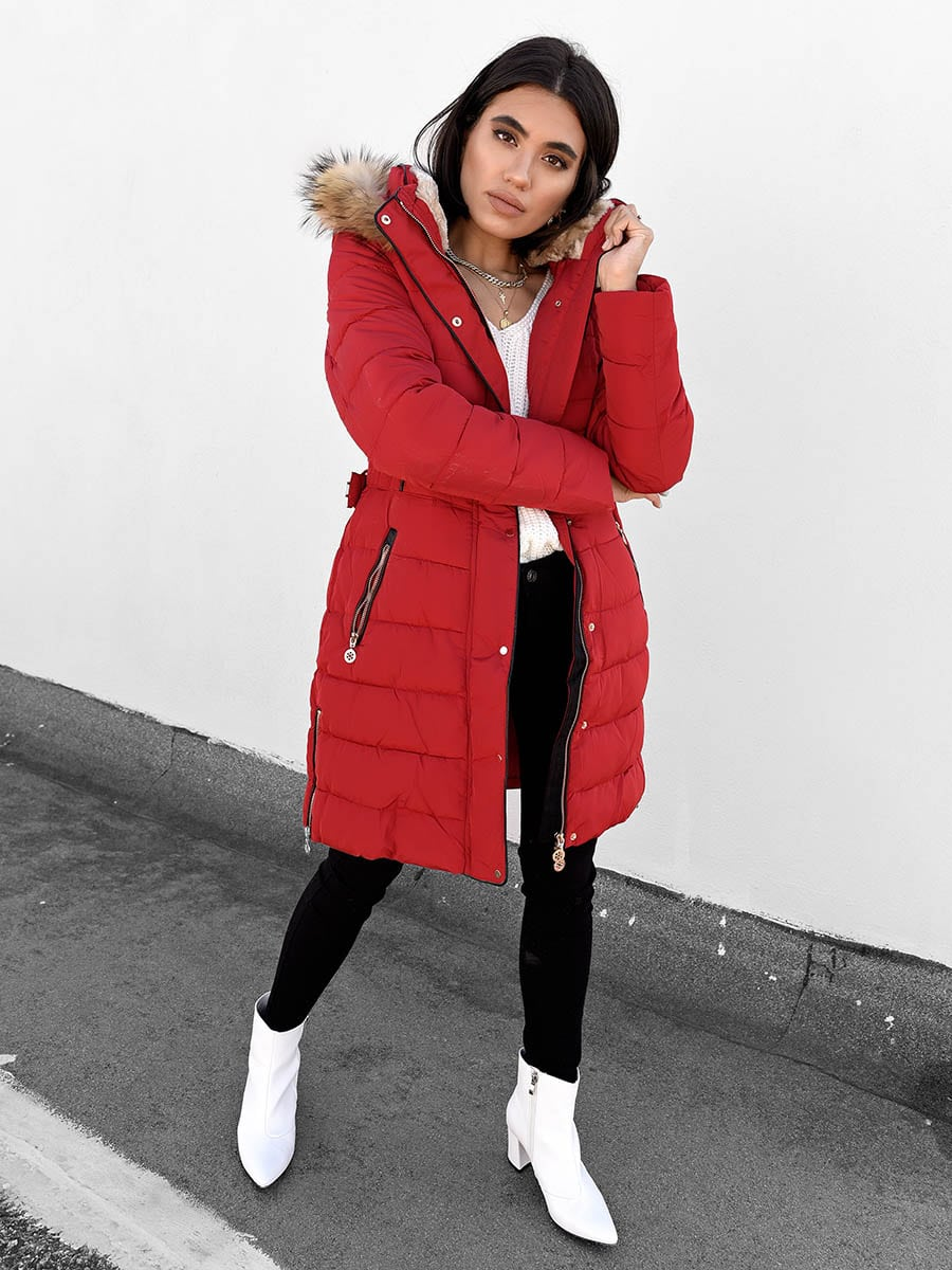 Pound The Alarm Red Puffer Jacket