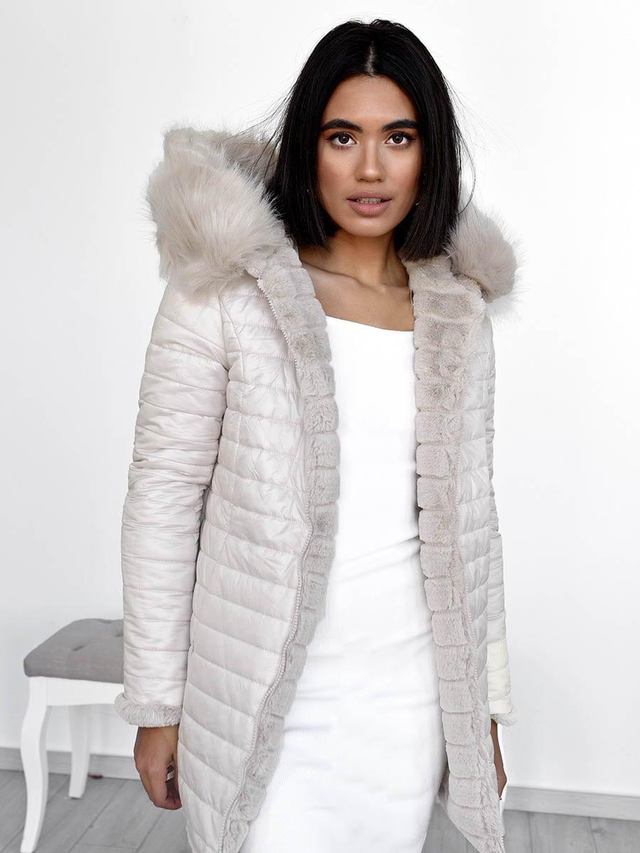 Beige Double Face Fur Jacket