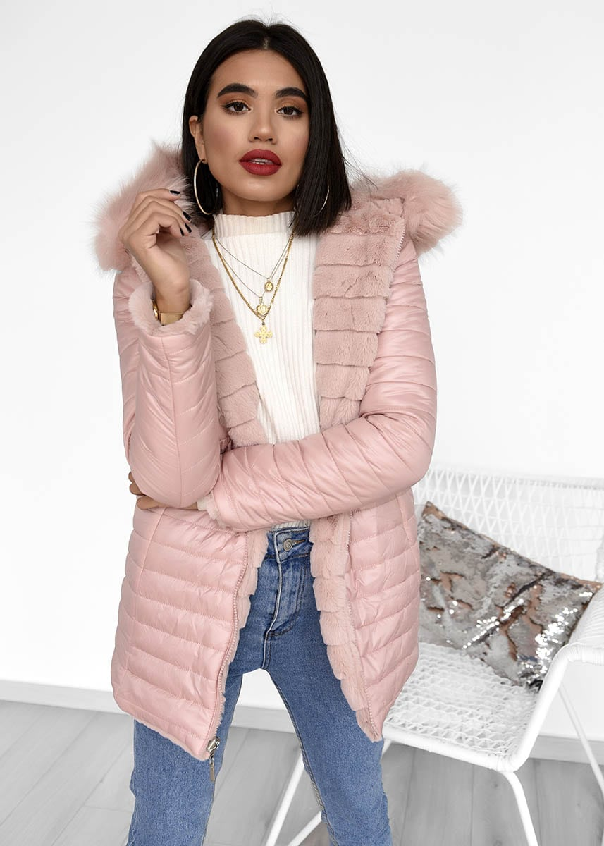 Pink Double Face Fur Jacket