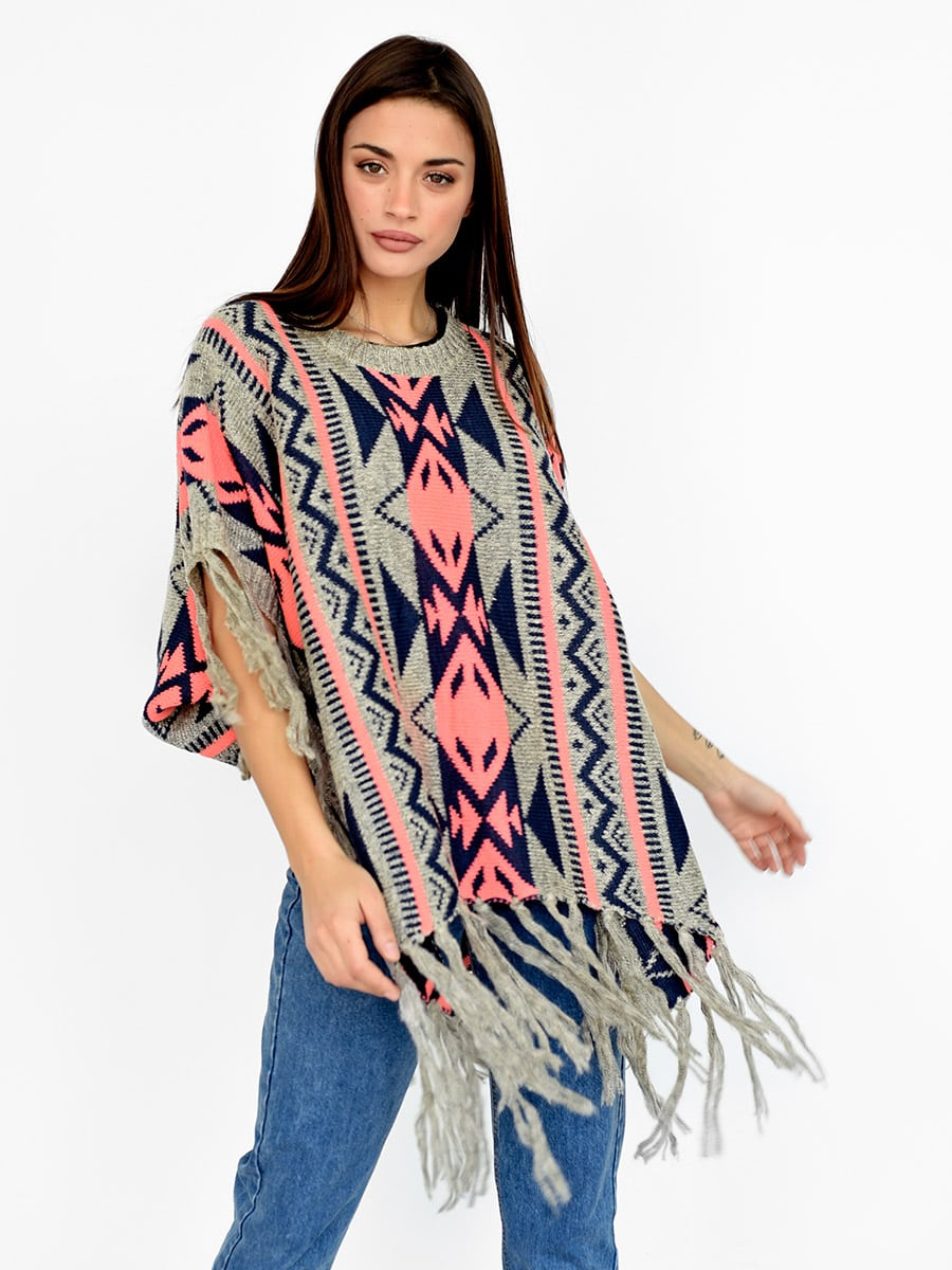 Pink Aztec Knitted Poncho