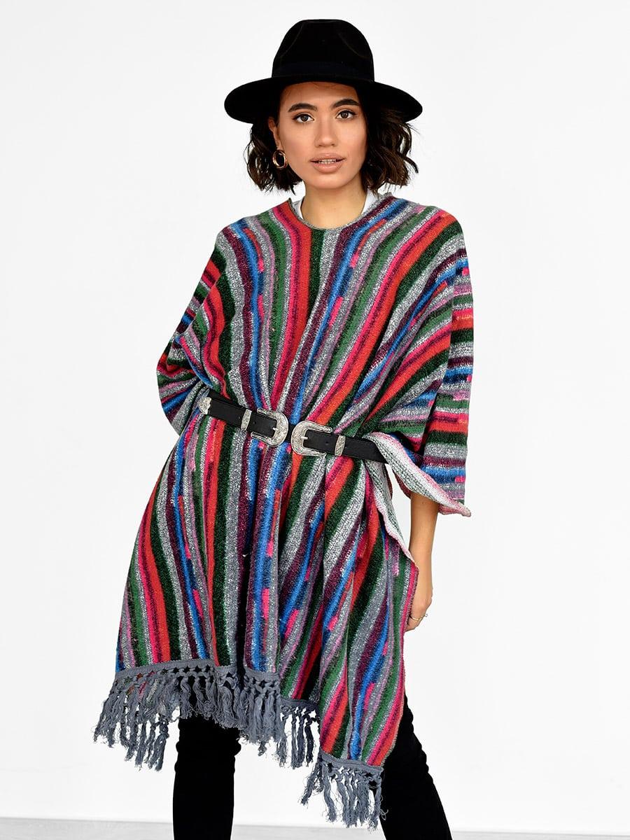Striped Fringe Poncho