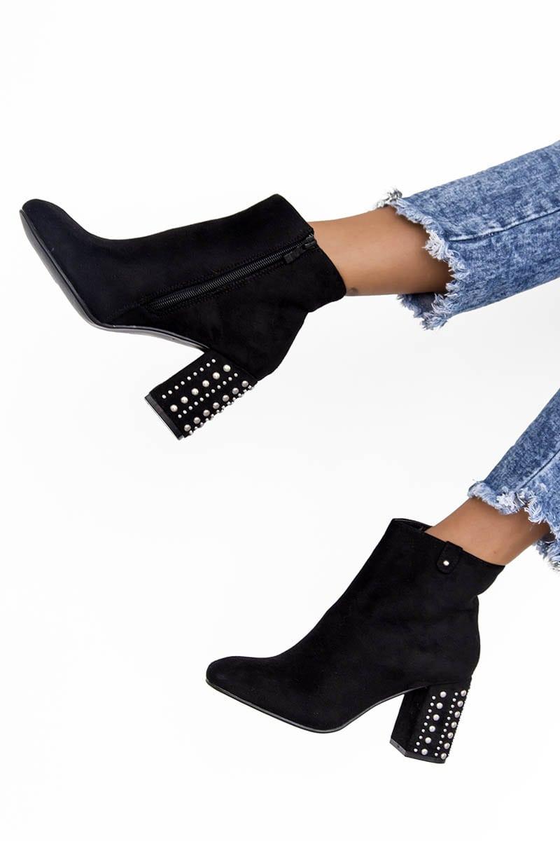 Kesha Black Studded Booties