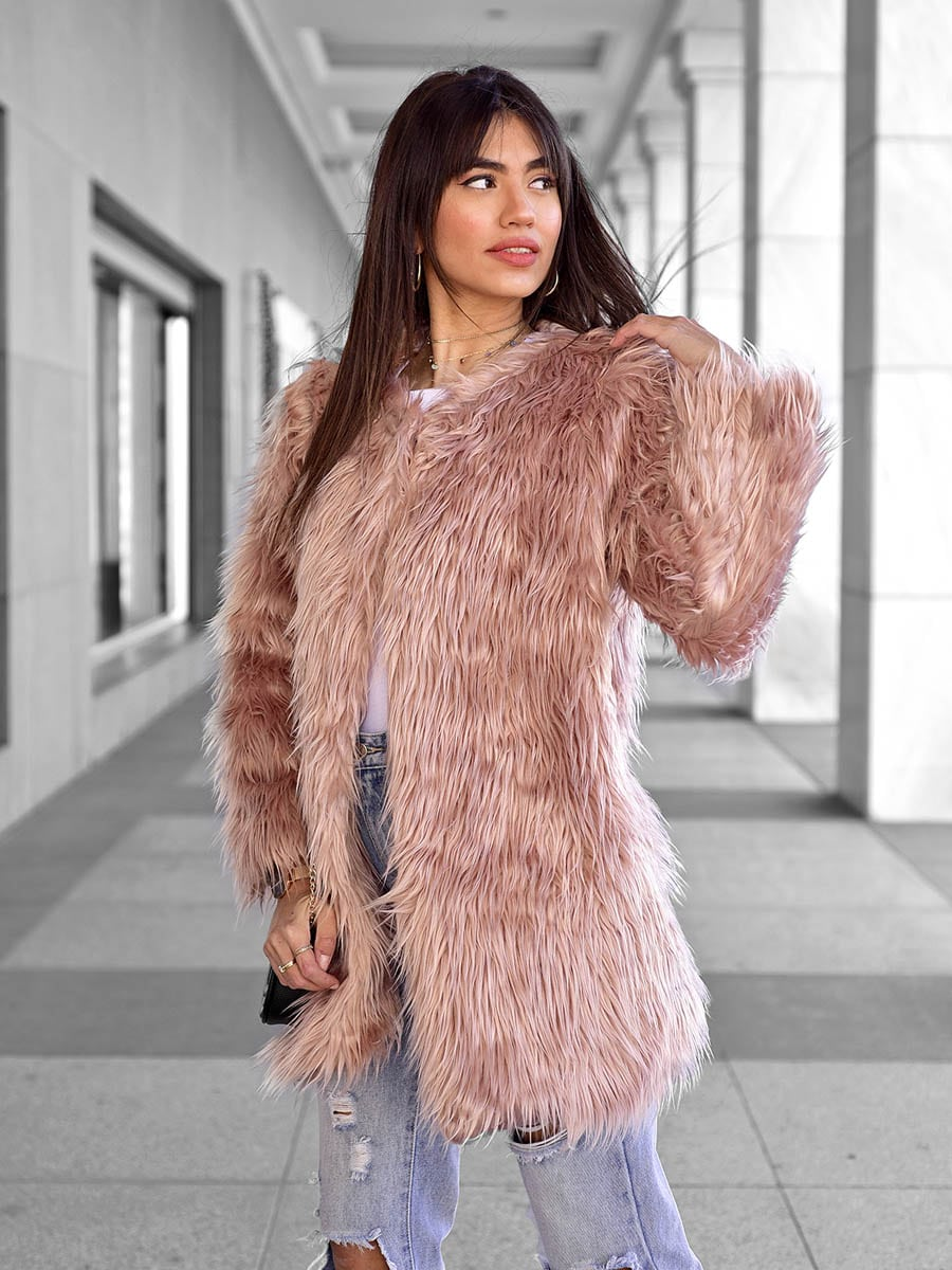 Shaggy Pink Fur Jacket