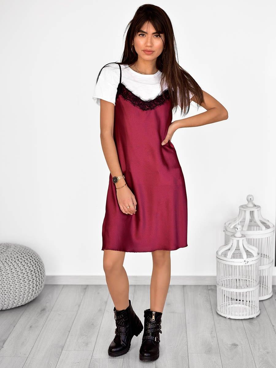 Φόρεμα Midi Σατέν - Satin Slip-ΜΠΟΡΝΤΟ