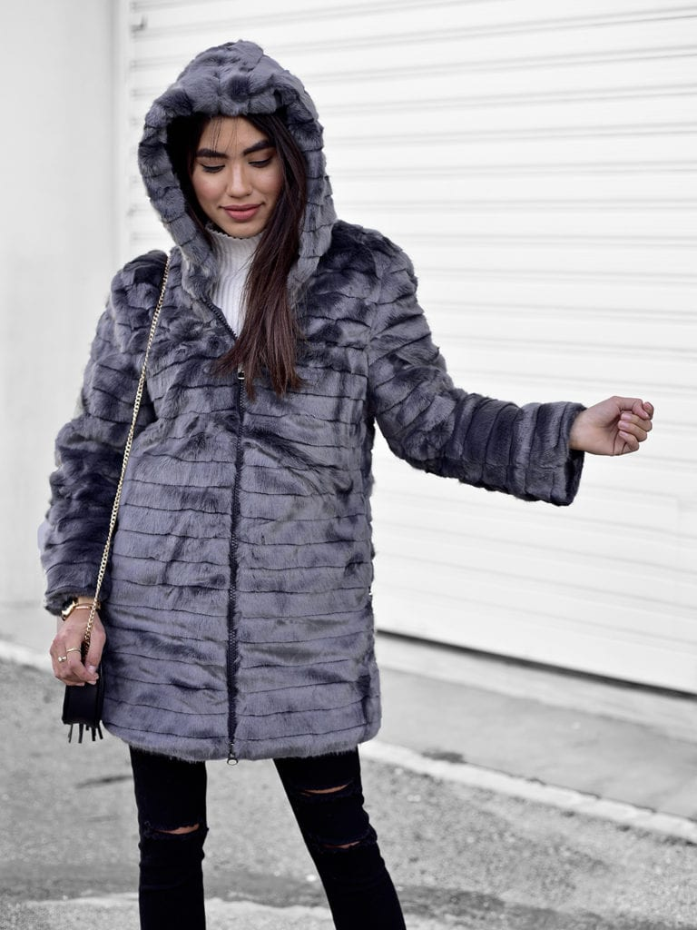 Cold Arms Hooded Grey Fur Jacket