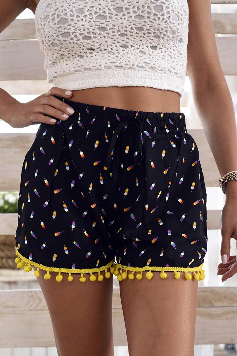 Popsicle Black Pom Pom Shorts