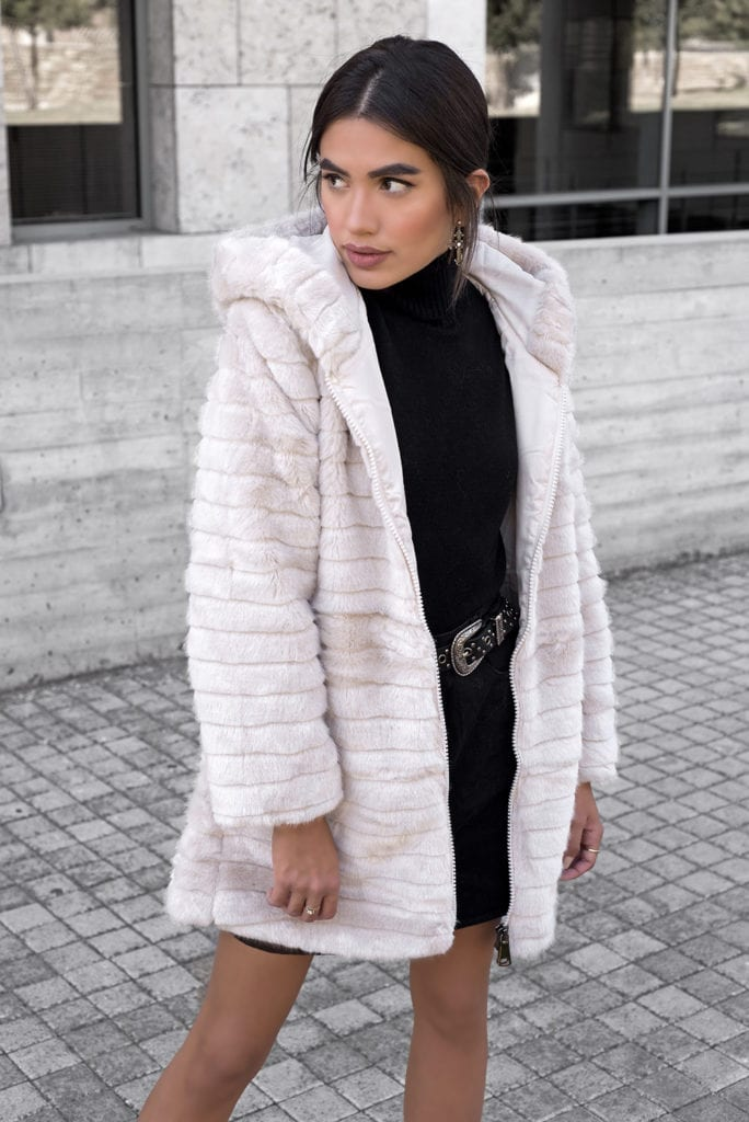 Cold Arms Hooded Beige Fur Jacket
