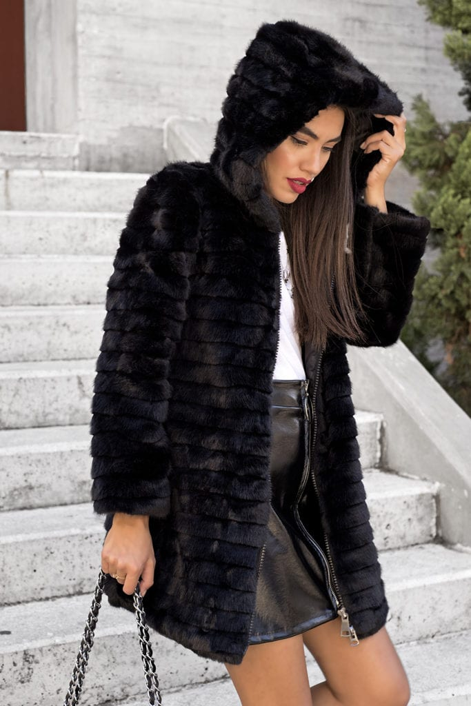 Cold Arms Hooded Black Fur Jacket