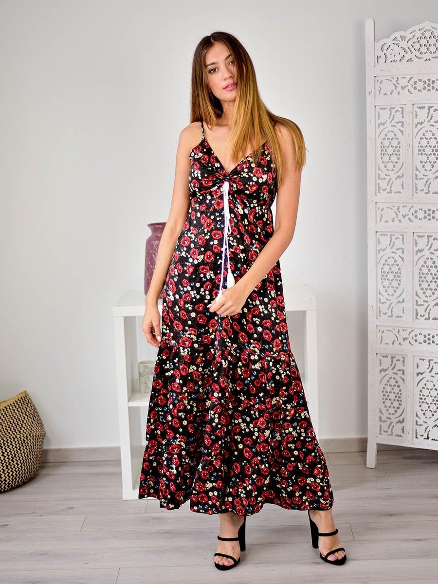 Φόρεμα Maxi Floral Μαύρο - Country Girl