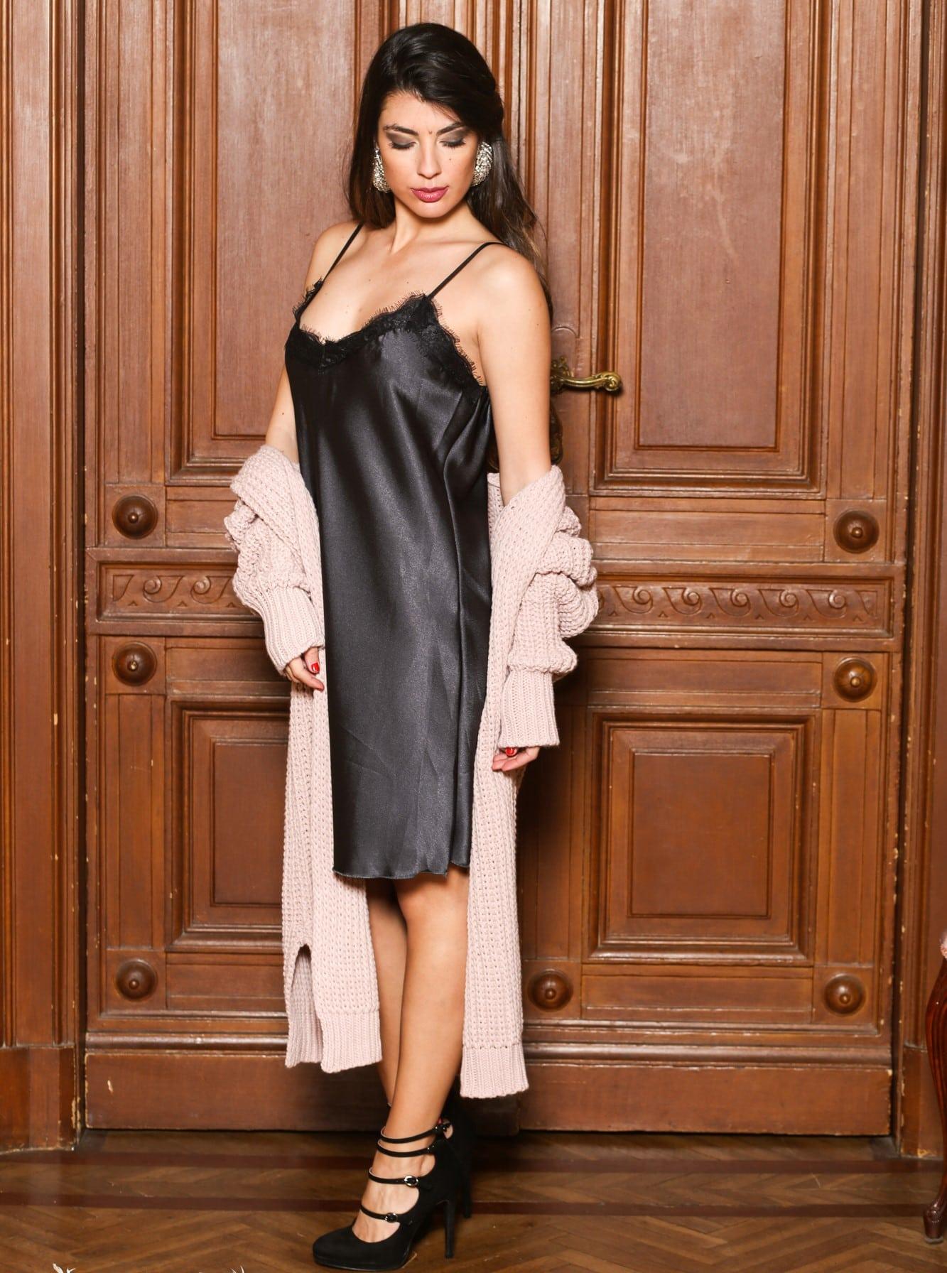 Φόρεμα Midi Σατέν - Satin Slip-ΓΚΡΙ