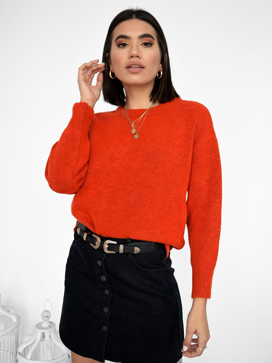 In A Hurry  Orange Knitted Sweater