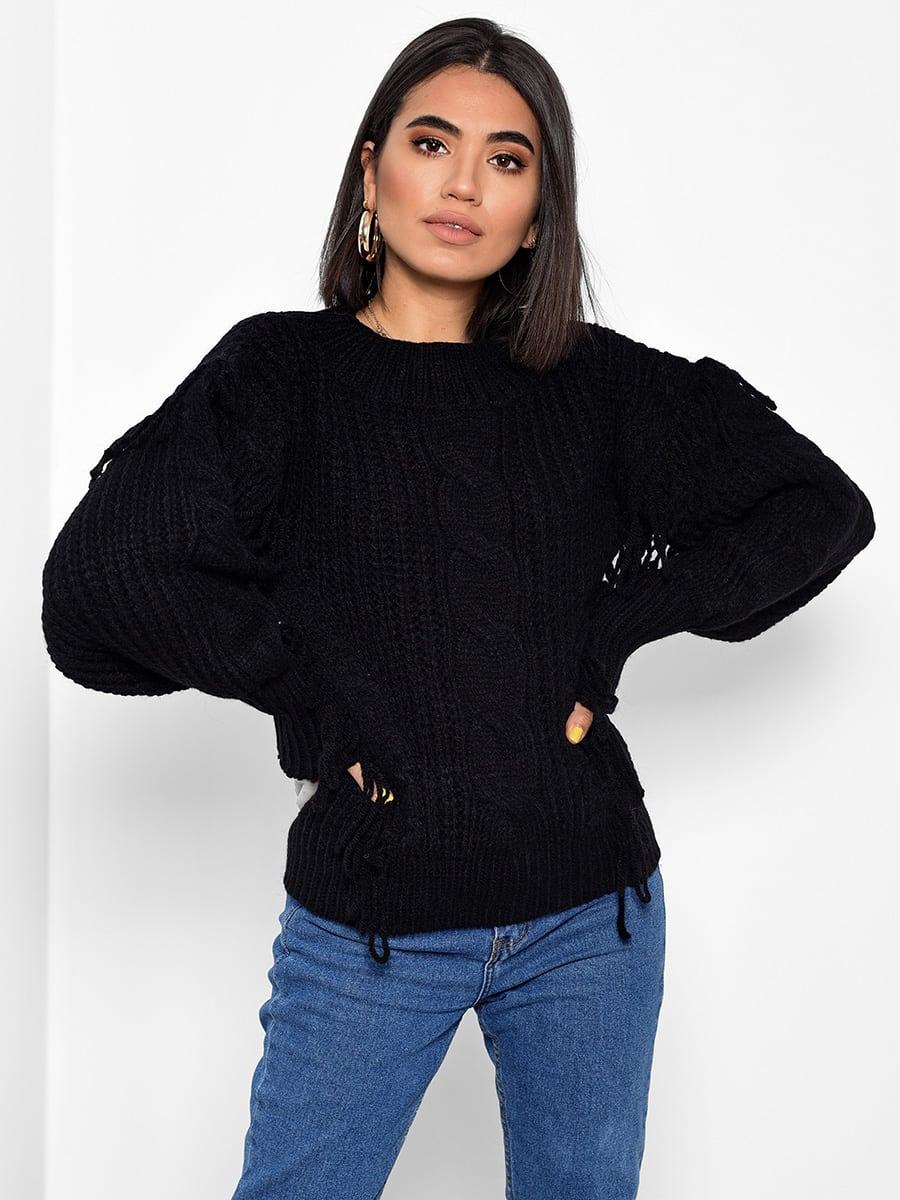 Snow Days Black Knitted Sweater