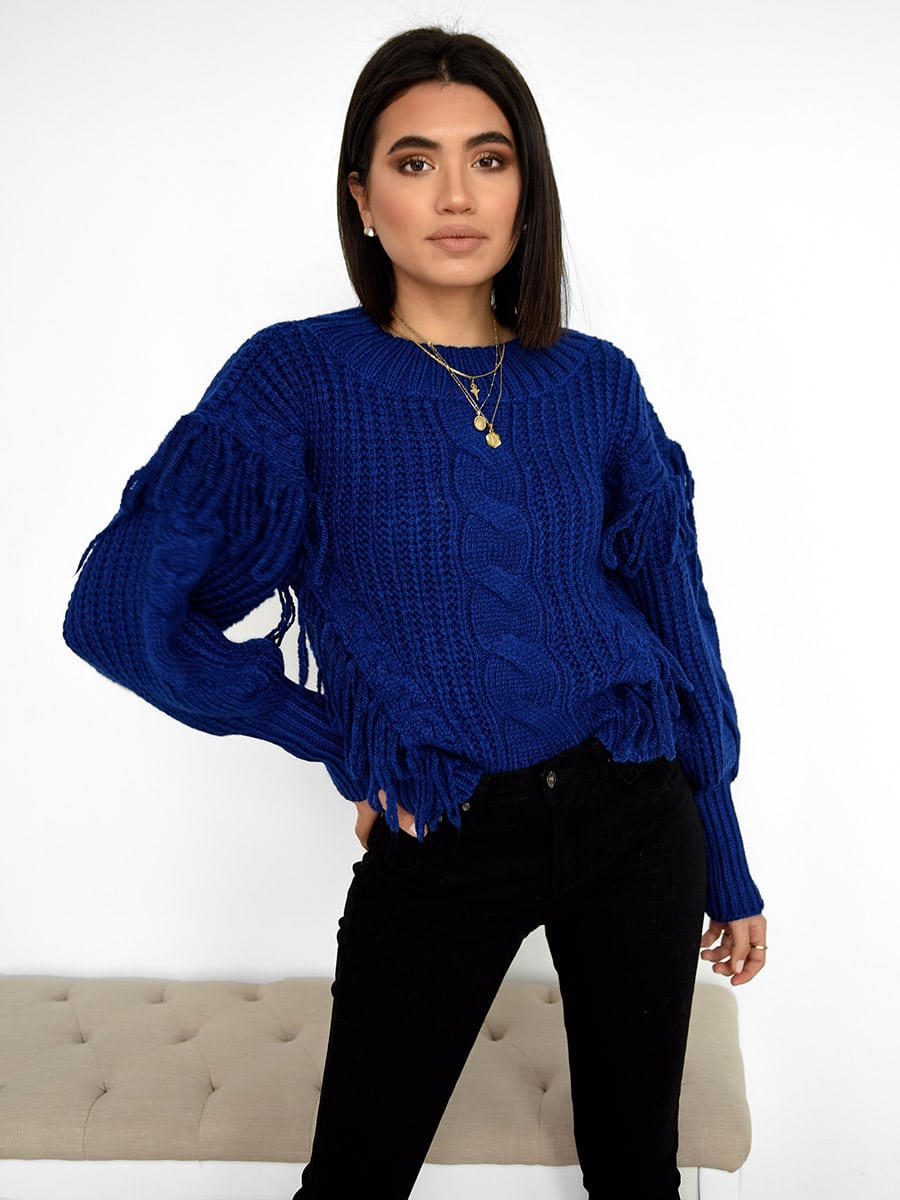 Snow Days Blue Knitted Sweater
