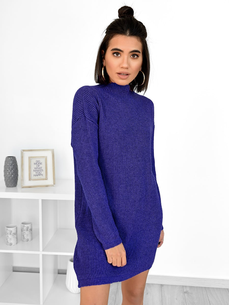 Snaps For You Deep Purple Knitted Sweater Dress