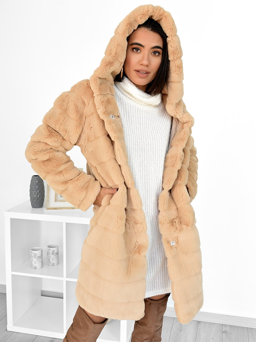 Girls Talk Beige Fur Jacket