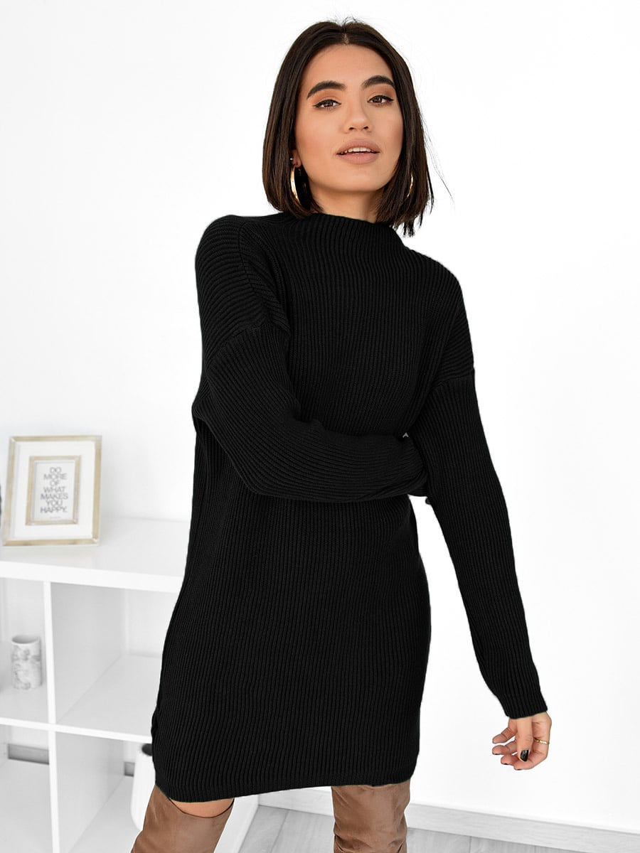 Snaps For You Black Knitted Sweater Dress