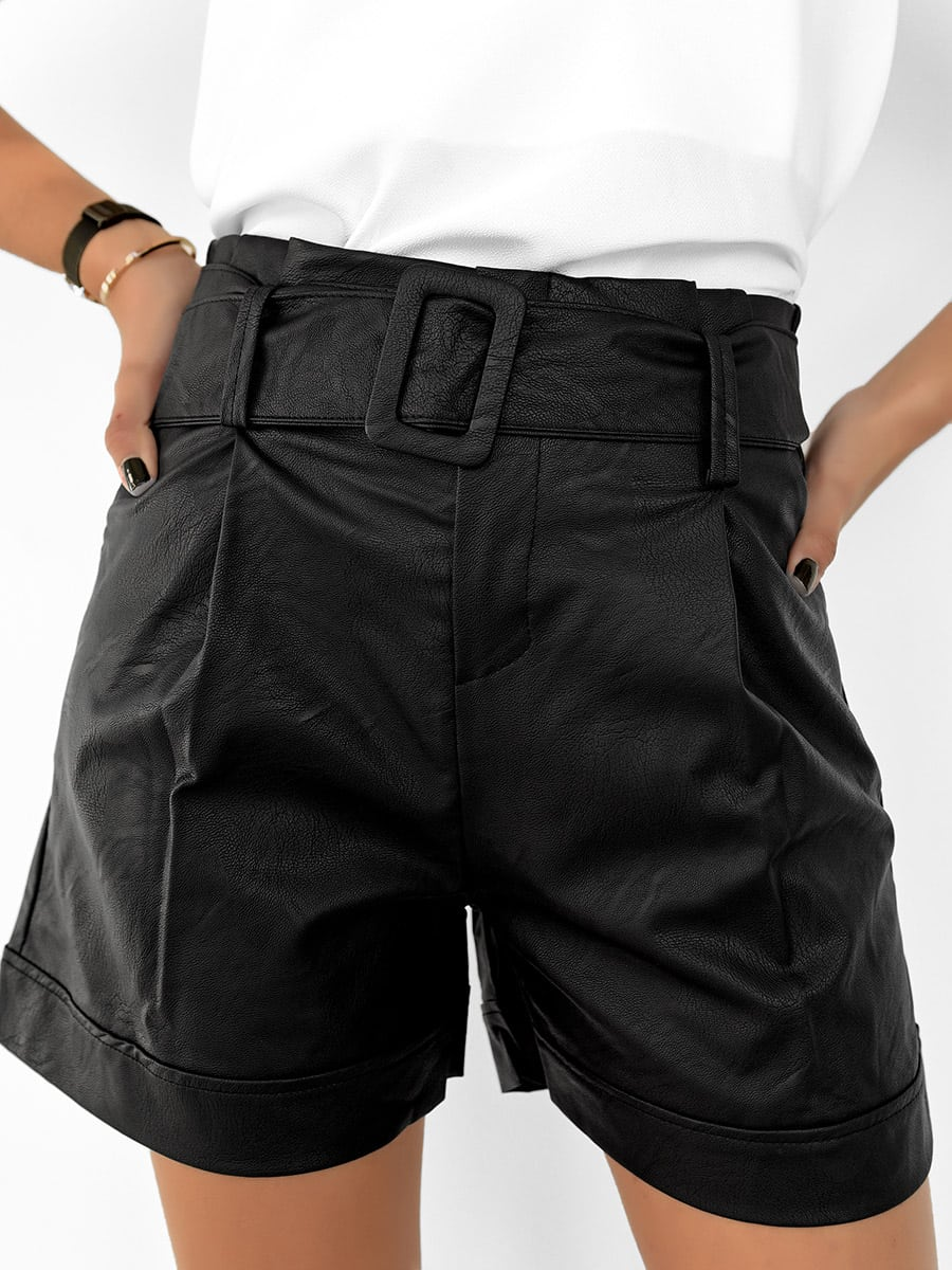 Black Belted Faux Leather Shorts