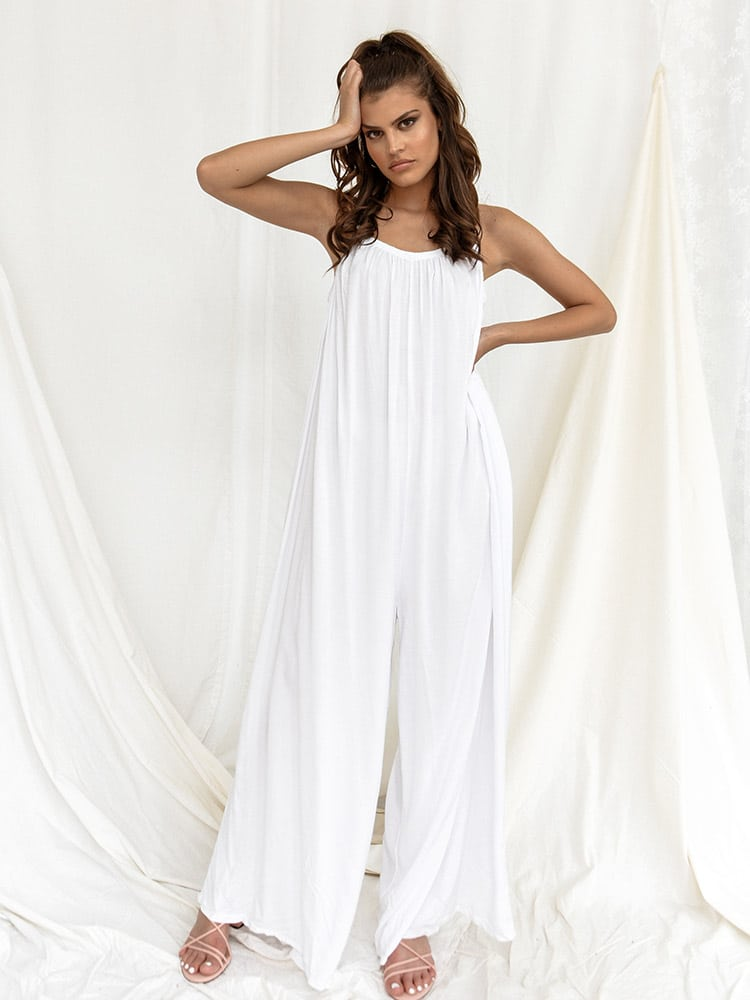 Ολόσωμη Φόρμα Με Τιράντες Λευκή - Swift