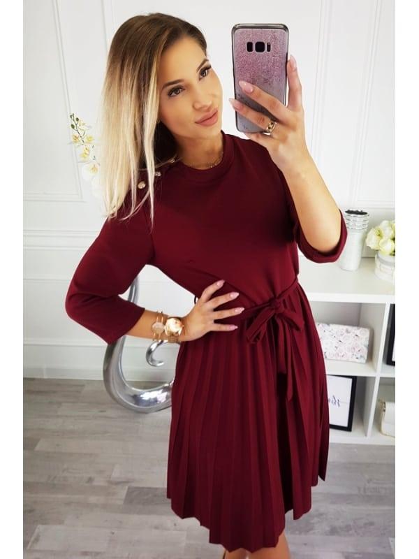 Play Nice Wine Pleated Dress