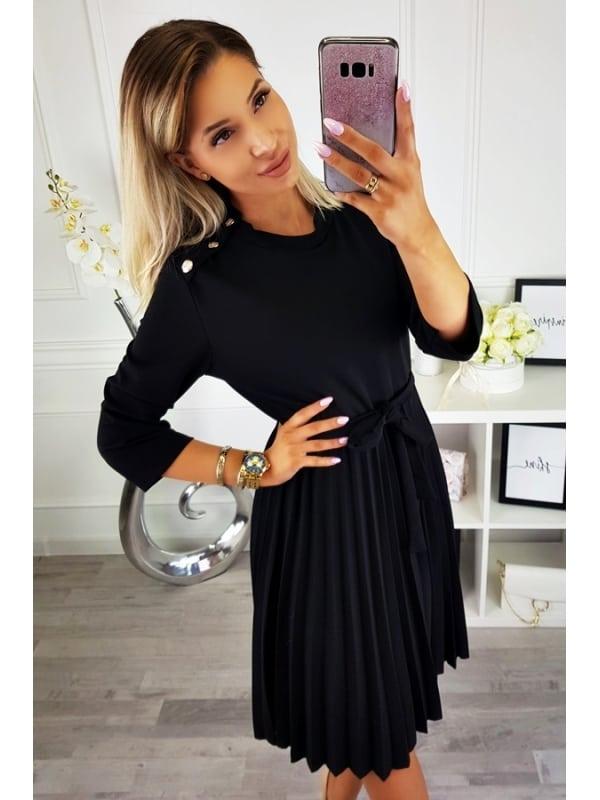 Play Nice Black Pleated Dress